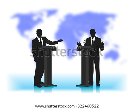 debate people at a microphone on not a sharp background of the planet - stock photo