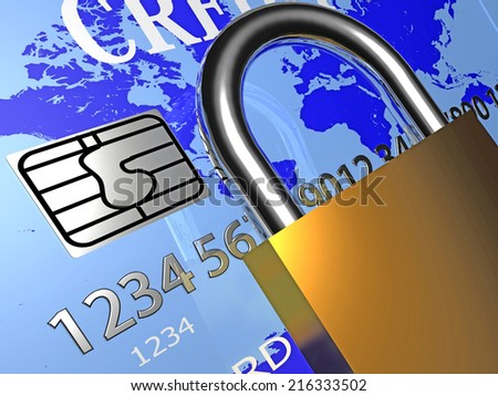 debit card and padlock. security,safety - stock photo