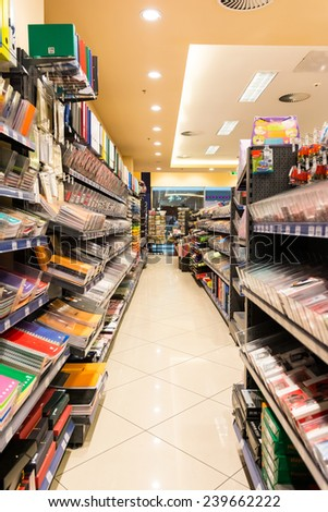 DEBRECEN, HUNGARY - AUGUST 25, 2014: Supermarket Aisle With School And Office Tools For Sale. - stock photo