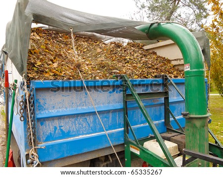Debris loader depositing leaves into truck - stock photo