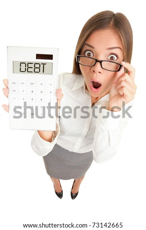 Debt and finance concept. Woman accountant showing calculator spelling DEBT. Funny image of Casual Asian Caucasian business woman isolated on white background. - stock photo