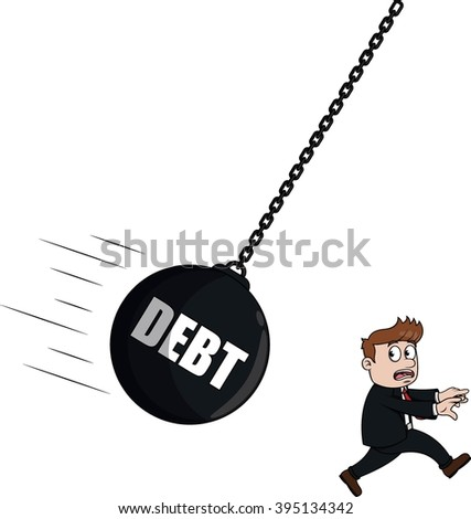 Debt businessman - stock photo