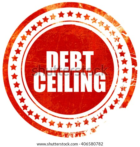 debt ceiling, grunge red rubber stamp with rough lines and edges - stock photo