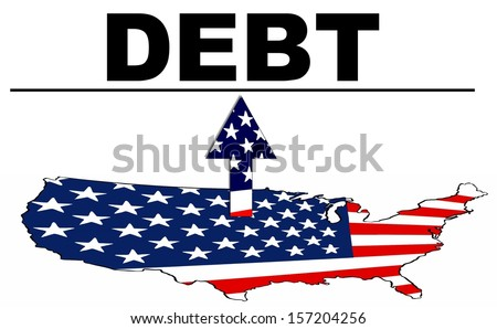 Debt Ceiling Illustration of a United States Map Under Debt - stock photo
