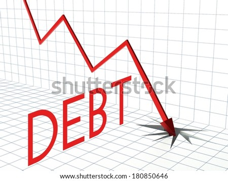 Debt chart concept, crisis and down arrow - stock photo