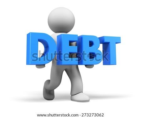 Debt. 3D. Burden of debt - stock photo
