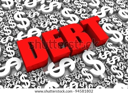 DEBT 3D text surrounded by dollar currency symbols. Part of a series. - stock photo