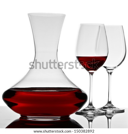 decanter and two glasses - stock photo