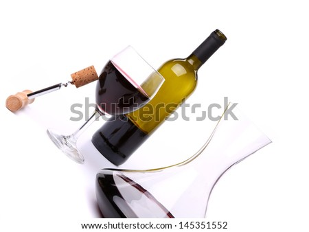 decanter, bottle and glass with red wine - stock photo