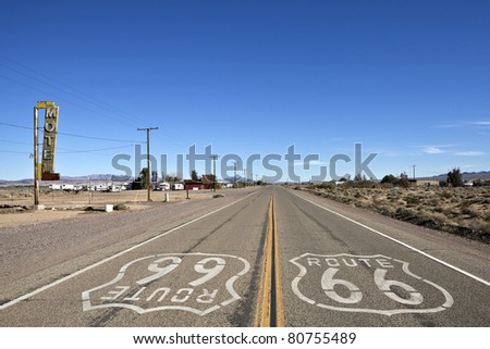 Decayed portion of historic Route 66 in Bagdad California. - stock photo