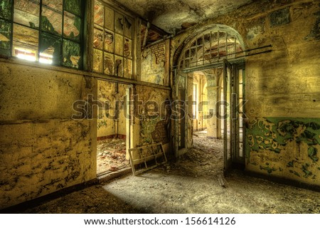 decayed room - stock photo
