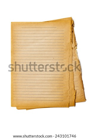 Decaying and dark by the time sheets old notebook in a line on a white background - stock photo
