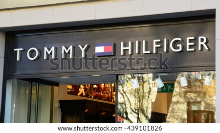 "DECEMBER 31, 2014 - BARCELONA: The logo of the brand ""Tommy Hilfiger"""