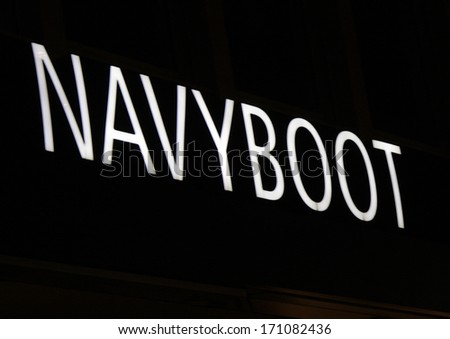 "DECEMBER 2013 - BERLIN: the logo of the brand ""Navyboot"", Berlin."