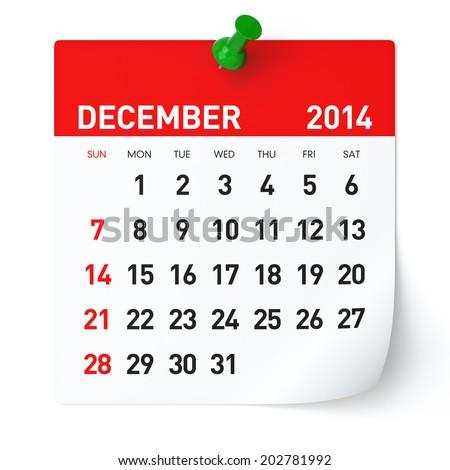December 2014 - Calendar - stock photo
