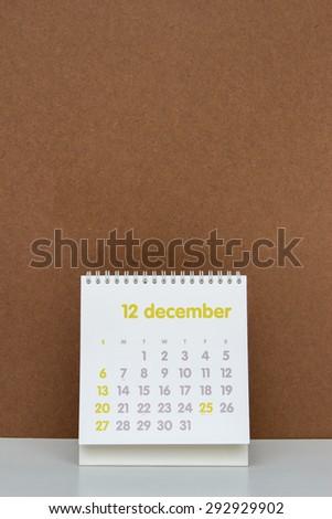 December. Calendar sheet. Two thousand fifteen year calendar. - stock photo