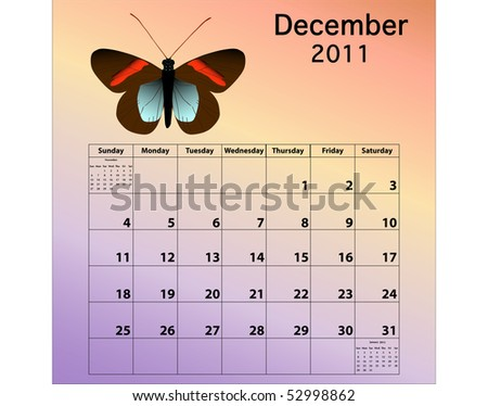 December 2011 calendar with butterfly - stock photo