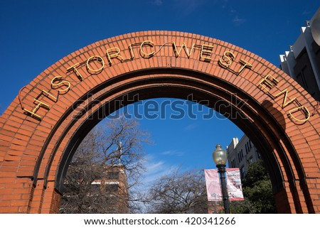 December 25, 2016 Dallas, Texas, USA: arch marking the historic West End of the downtown area