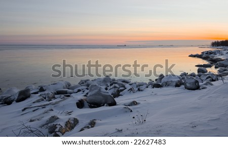 December image of the distant harbor of the twin ports of Duluth, Minnesota and Superior, Wisconsin - stock photo