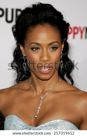 """December 7, 2006. Jada Pinkett-Smith attends the Los Angeles Premiere of """"The Pursuit of Happyness"""" held at the Mann Village Theater in Westwood, California United States.  - stock photo"""