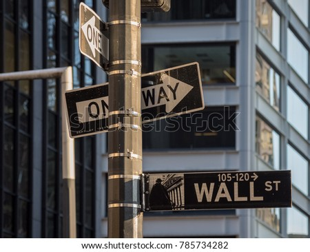 December 25, 2017, New York, USA. Signs and signs on Wall Street, the most famous business street in New York.