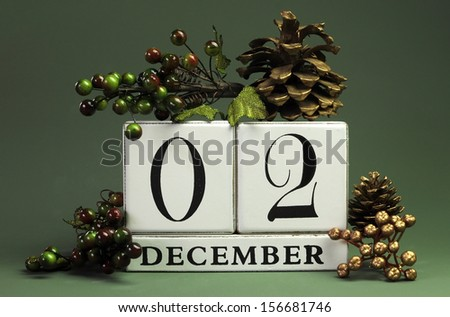 December 2: Save the Date calendar with Winter theme colors, fruit and flowers, for birthdays, special occasions, holidays, weddings, website events, or Christmas Advent calendar days. - stock photo