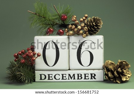 December 6: Save the Date calendar with Winter theme colors, fruit and flowers, for birthdays, special occasions, holidays, weddings, website events, or Christmas Advent calendar days. - stock photo