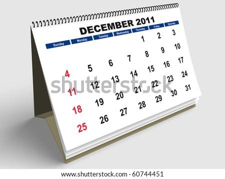 December sheet in a Calendar for 2011. 3d render - stock photo