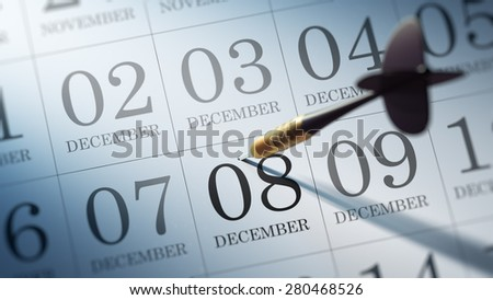 December 08 written on a calendar to remind you an important appointment.