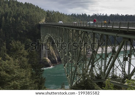 Deception Pass Bridge, Deception Pass State Park, Washington State, USA - stock photo