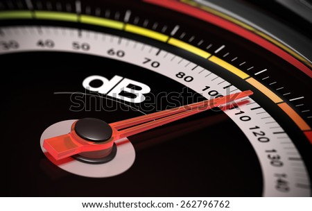 Decibel measurement. Gauge with green needle pointing 105 dB, concept of noise level - stock photo