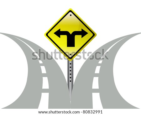 Decision choice direction arrows road sign - stock photo