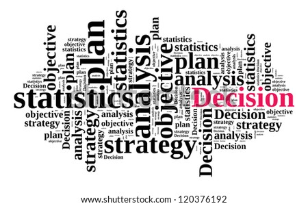 Decision concept in word cloud - stock photo