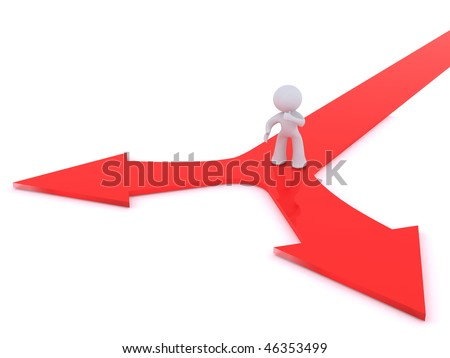 decision making at a Y junction - stock photo