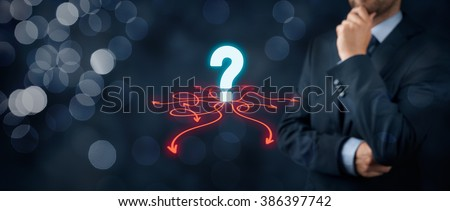 Decision making (management decisions) - select the best business way (opportunity) to future. Wide banner composition with bokeh in background. - stock photo