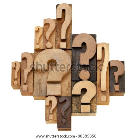decision making or brainstorming concept - a collection of question marks - vintage wood letterpress printing blocks - stock photo