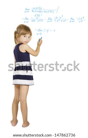 decision schoolwork - little Schoolgirl solves the hard equation, isolated - stock photo