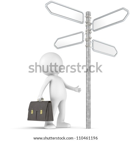 Decisions. 3D little human character the Businessman infront of a 4-way Street Sign. People series. - stock photo
