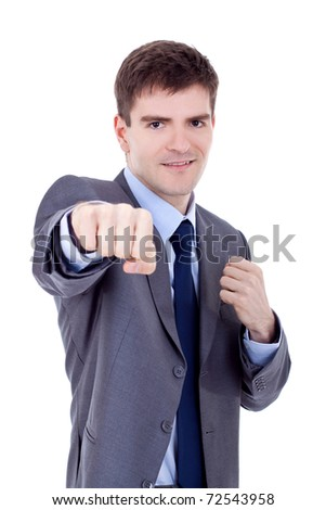 decisive action for business - business man in fight position - stock photo