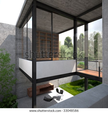 Deck and semi-detached library in modern minimalist summer home in Mexico (3D render) - stock photo