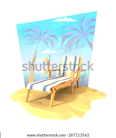 Deck chair with a cocktail on a beach. 3d illustration. - stock photo