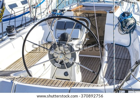 deck of a sailboat - stock photo