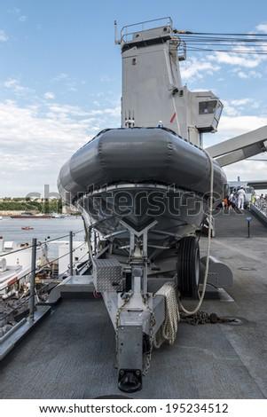 Deck of a US battleship during New York City Fleet Week - stock photo