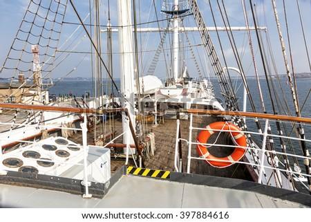deck of an old sailing ship Gorch Fock - stock photo
