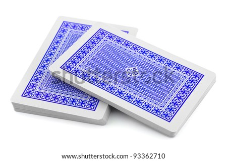 Deck of playing cards isolated on white background - stock photo