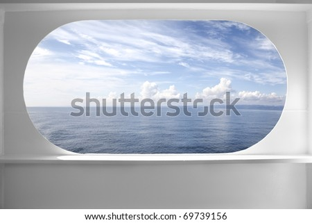 Deck ship window with a relaxing seascape view - stock photo