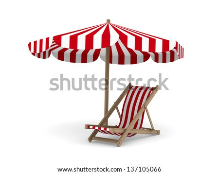 Deckchair and parasol on white background. Isolated 3D image  - stock photo