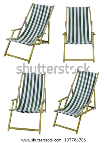 Deckchairs isolated on white with clipping path - stock photo
