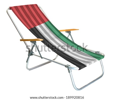 Deckchairs. Photo lounger with an extra layer on which the flag of UAE. The concept of holiday in UAE flag, turkey, turkish, vector, turk, symbol, graphic, emblem, illustration, banner