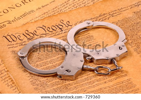 Declaration of Independence and Handcuffs - American Justice Concept - stock photo